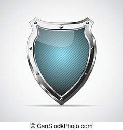 Metal blue shield with shadow on a gray background. Vector...