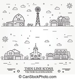 Neighborhood with buildings illustrated on white. Vector...