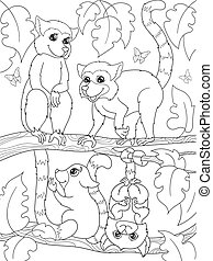 Childrens coloring book cartoon family of lemurs on nature....