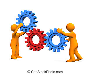 Gear Wheel - Orange Cartoons with gear wheels isolated on...