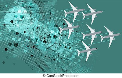 Green background and flying airplanes