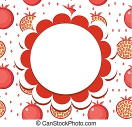 Pomegranate label, wrapper template for your design. Fruit frame with space for text. Vector illustration.