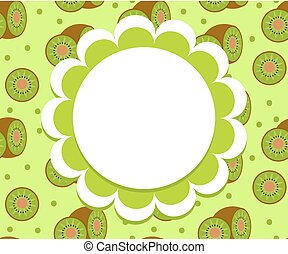 Kiwi label, wrapper template for your design. Fruit frame with space for text. Vector illustration.