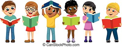 multicultural kids children playing reading books isolated -...