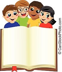 multicultural kids children behind blank open big book...