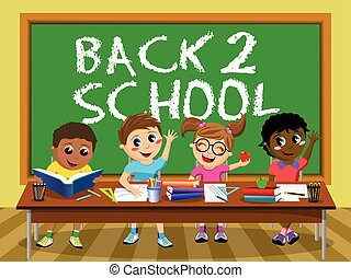 Back School blackboard Happy kids children classroom - Back...