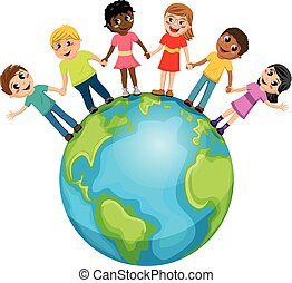 Children kids hand in hand world isolated
