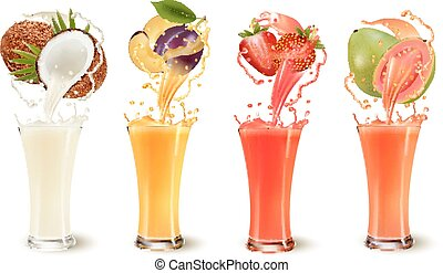 Set of fruit juice splash in a glass. Coconut, plum, strawberry and guava. Vector
