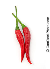 Hot chili pepper or small chili padi isolated on white...