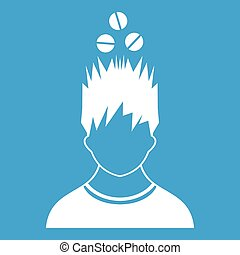 Man with tablets over head icon white isolated on blue...