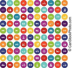 färg,  100, sätta, transport, ikonen