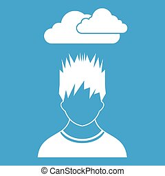 Depressed man with dark cloud over his head icon white...
