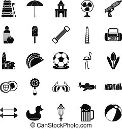Play icons set, simple style