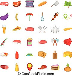 Barbecue food icons set, cartoon style