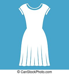 Woman dress icon white isolated on blue background vector...