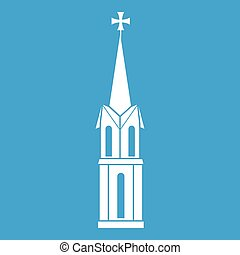 Church icon white isolated on blue background vector...
