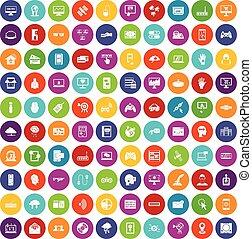 100 virtual icons set color