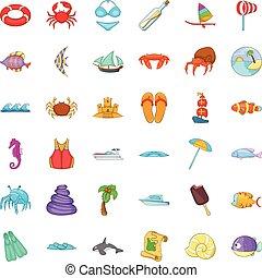Beach vacantion icons set, cartoon style - Beach vacantion...