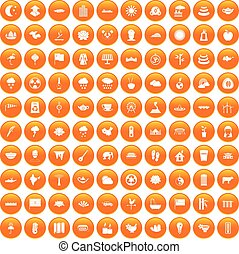 100 lotus icons set orange - 100 lotus icons set in orange...