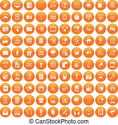 100 information technology icons set orange - 100...