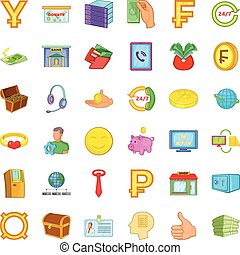 Money in bank icons set, cartoon style