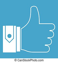 Thumbs up icon white isolated on blue background vector...