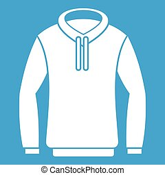 Hoody icon white isolated on blue background vector...