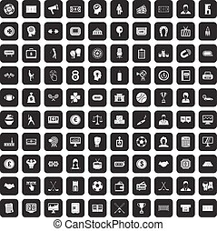 100 totalizator icons set black - 100 totalizator icons set...
