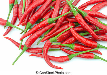 Stack of hot chili pepper or small chili padi, isolated on...