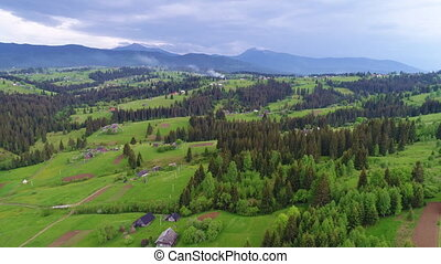 Mountain village landscape in Carpatian - Aerial view of the...