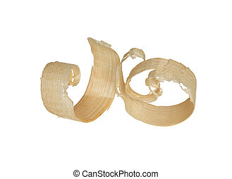 Wood Shavings - Two wood shavings isolated on white...