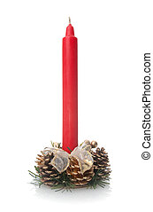 Traditional Christmas red candle