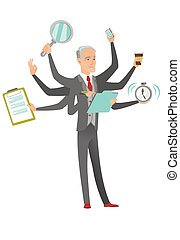 Caucasian businessman coping with multitasking. - Caucasian...