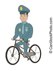 Young hispanic police officer on bicycle.