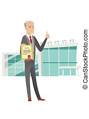 Senior caucasian businessman holding a certificate - Senior...