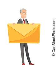 Senior caucasian businessman holding big envelope. -...