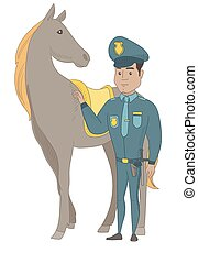 Young hispanic police officer and horse.