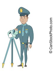 Policeman with radar for traffic speed control.