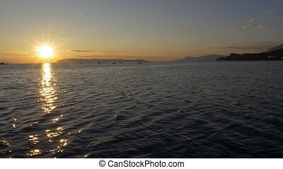 Sailling at sunseth - Slowmotion shot - Beautiful sunseth of...