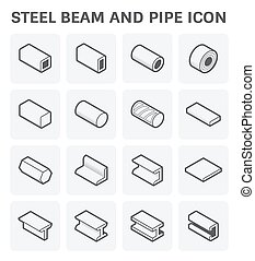 steel beam pipe - Vector icon of steel pipe and beam product...