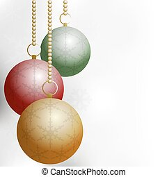 Christmas Balls on Silver Backround