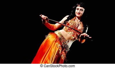 Woman dance with cane diagonal shot