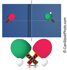 Ping Pong Table and rackets - Vector ping pong table and...