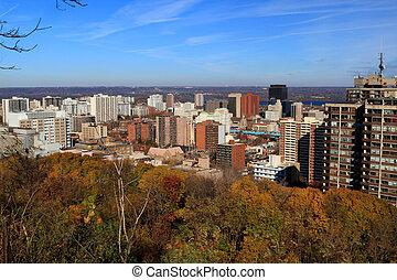 General view Hamilton Central Ontario, Canada. - Aerial view...