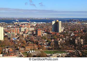General view East part of Hamilton, Ontario, Canada - Aerial...