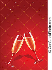 Vector champagne glasses splashing on red glamour background...