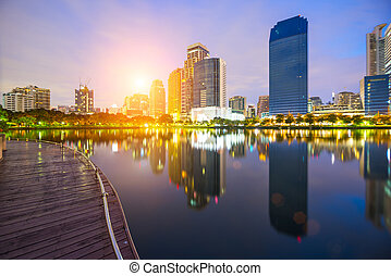 Bangkok city town and the water park sunrise sky