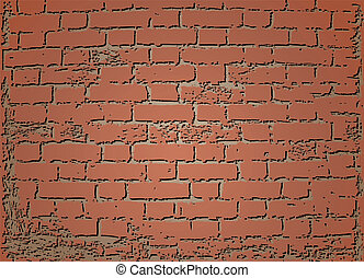 Brick Wall Background. Vector - Brick wall grunge red...