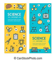 Vector Science Research Vertical Banners Posters Card Set Template.