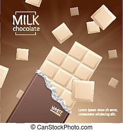 Vector Chocolate Package Bar Blank - White pieces -...